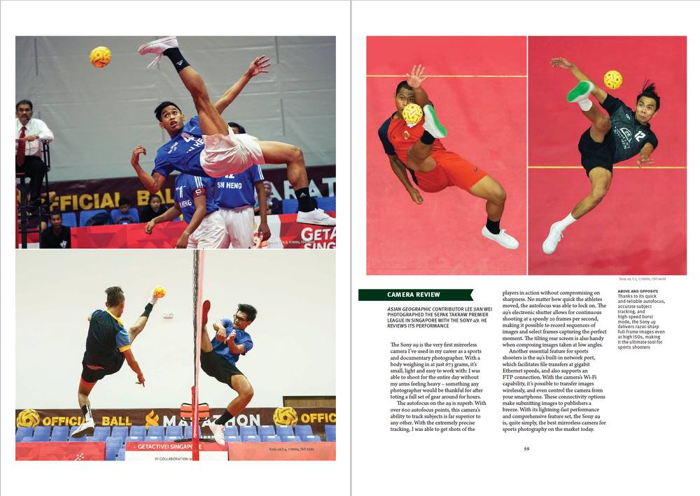 Tear Sheet from Asian Geographic Magazine 2018 Issue 3. Feature Story on Sepak Takraw. (Page 2/2)