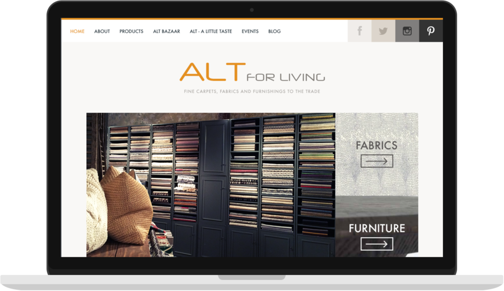 ALT For Living - I the the UX, UI and Squarespace build for ALT for Living which is a website for fine rugs, fabrics and furnishings.