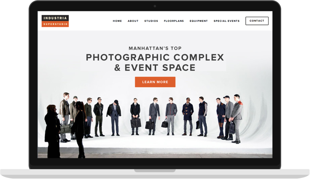 Industria Superstudio - I the the UX, UI and Squarespace build for Industria Superstudio, which is a photographic complex in New York City.