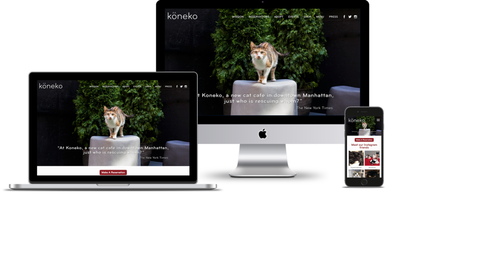 Koneko Cat Cafe - I the the UX, UI and Squarespace build for Koneko, which is a cat cafe in New York City.