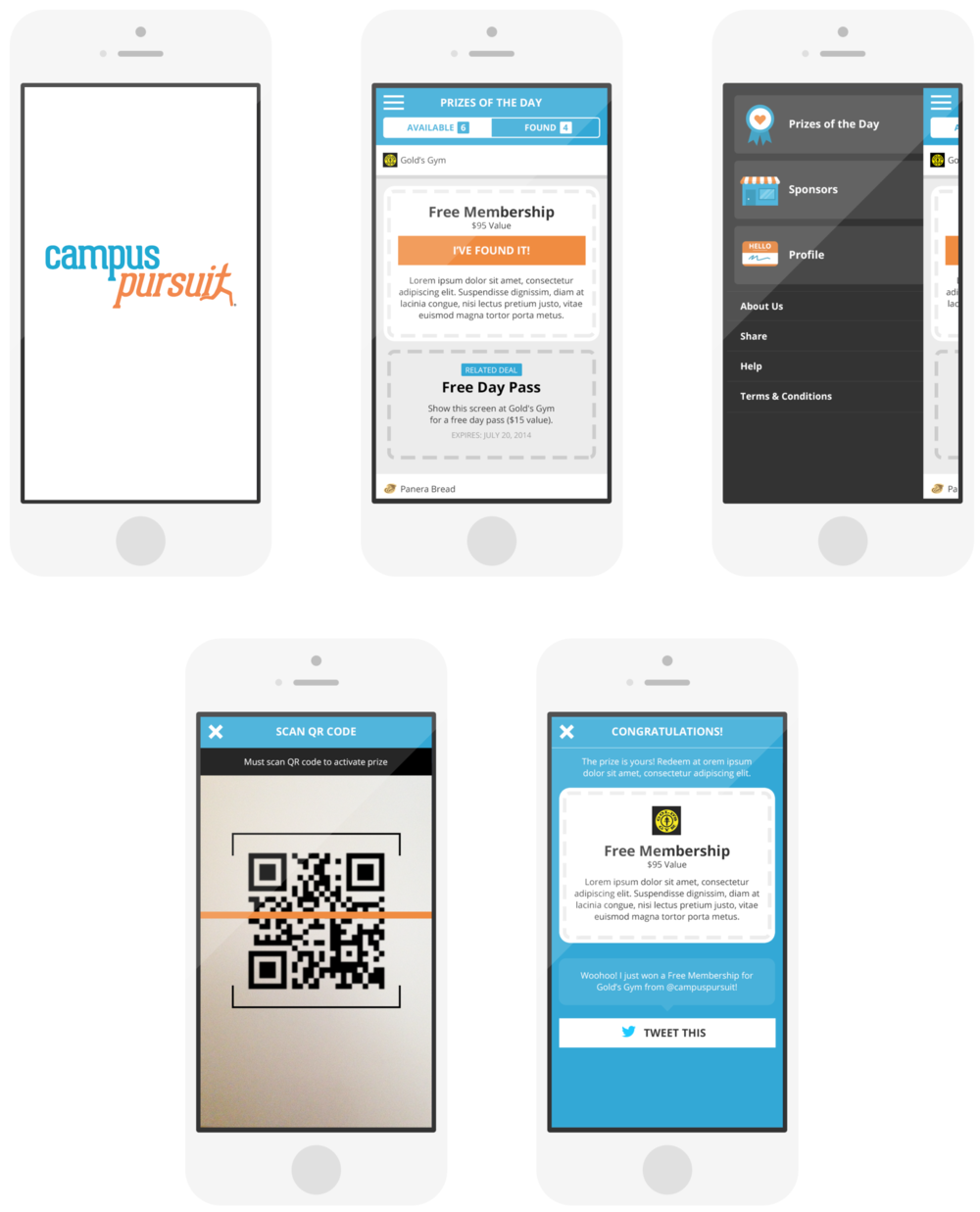 Campus Pursuit - I did the UX and UI for Campus Pursuit, which is a college-wide scavenger hunt program that engages college students with brands.