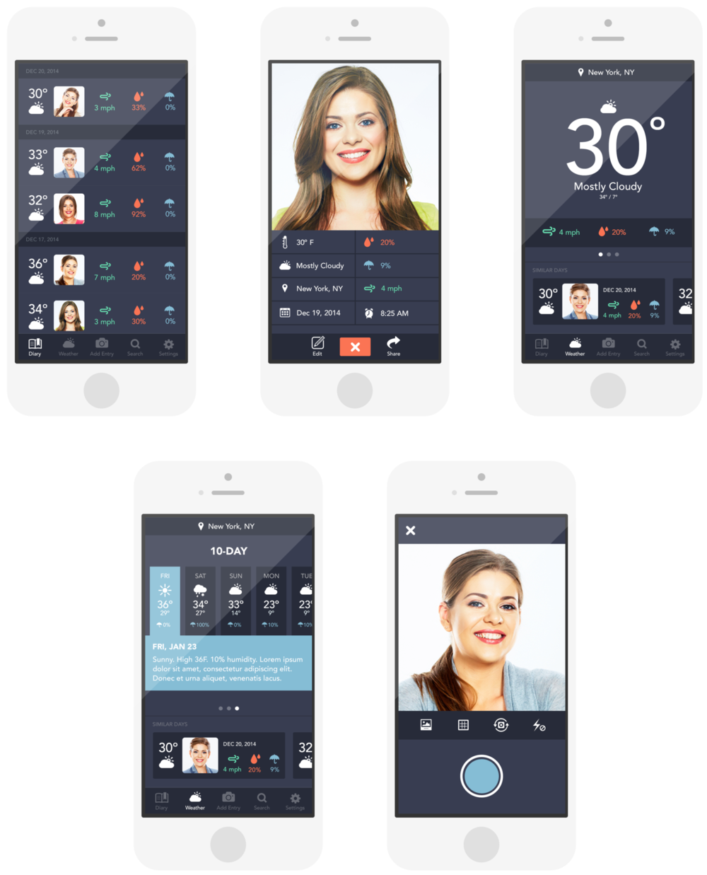 WeatherBrush - I did the UX, UI,and branding for WeatherBrush,which is an app that helps you style your hair based on the weather. Each time you add a selfie, the app pulls in the current weather. By creating a personalized diary of your best and worst hair days, WeatherBrush prepares you by showing you how your hair looked on days with similar weather.