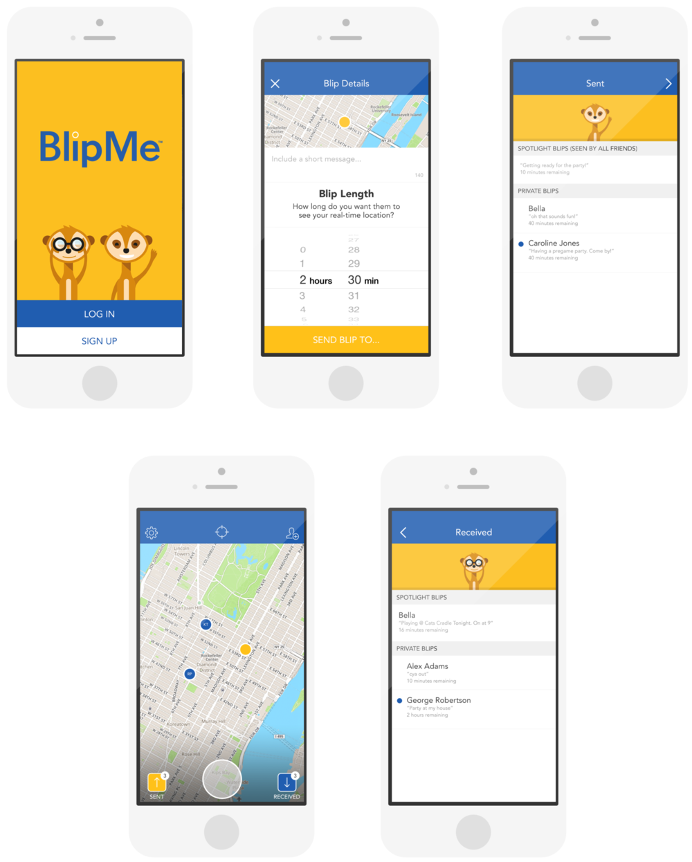 BlipMe - I did the UX and UI for BlipMe, which is an app that allows users to quickly and directly share real-time locations (or blips) with each other! Only those you selected can see your location until the blip expires or you delete it.