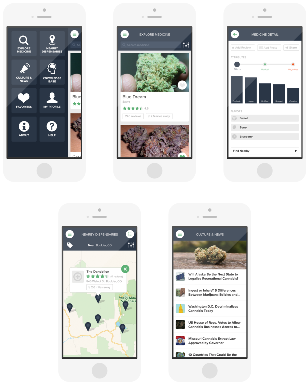 Whaxy - I did the UX and UI for Whaxy, which is a medical marijuana startup located in Colorado (surprise, surprise!). Users can review dispensaries, view medicine available, leave ratings, sophisticated reviews and even contribute their own photos.