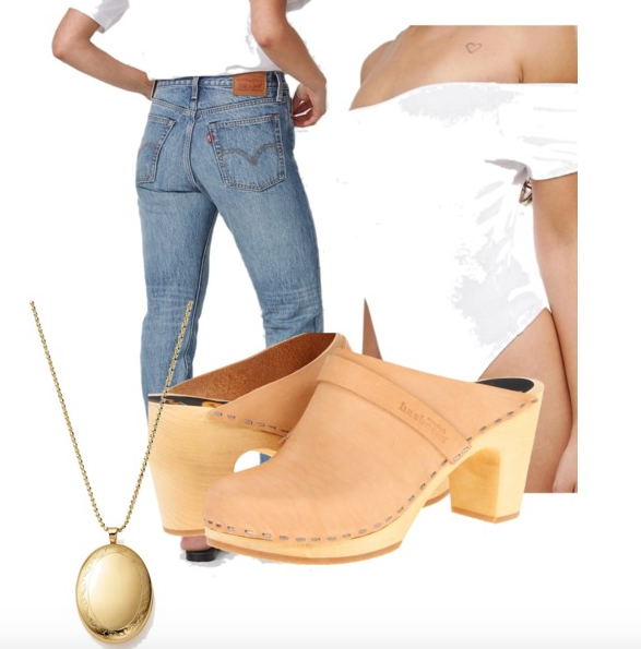 Jeans ,  Off-the-Shoulder Top ,  Clogs  ( cheaper, mom-friendly clogs ),  Locket   (  s  upercool pendant)