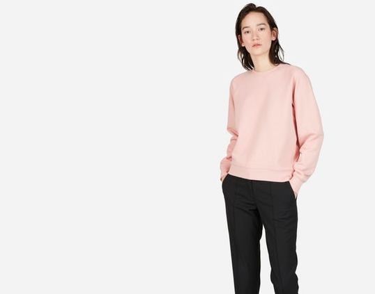 Everlane sweatshirt , Pink joined their minimal color palette last summer.