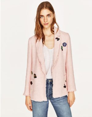 Zara, Pink Tweed Jacket with Patches