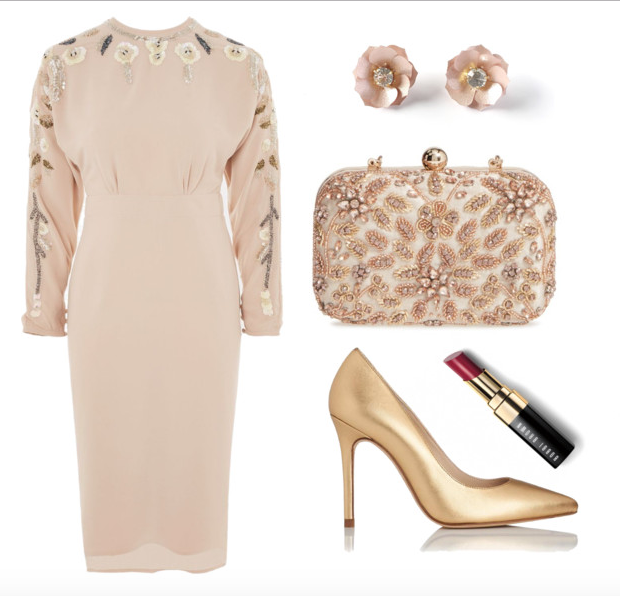 Dress,   Similar studs ,  Similar shoes ,  Lipstick ,  Bag