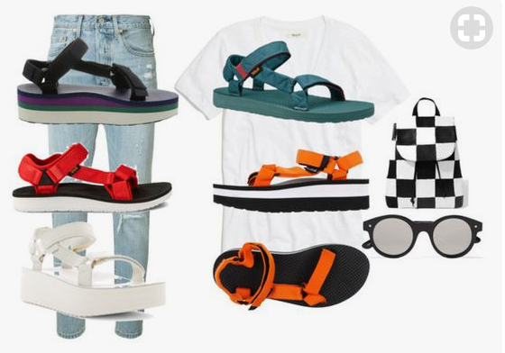 1. Striped flatform   2. Red   3. White flatform   4. Teal   5. Orange flatform  6.  Backpack   7. Similar sunglasses