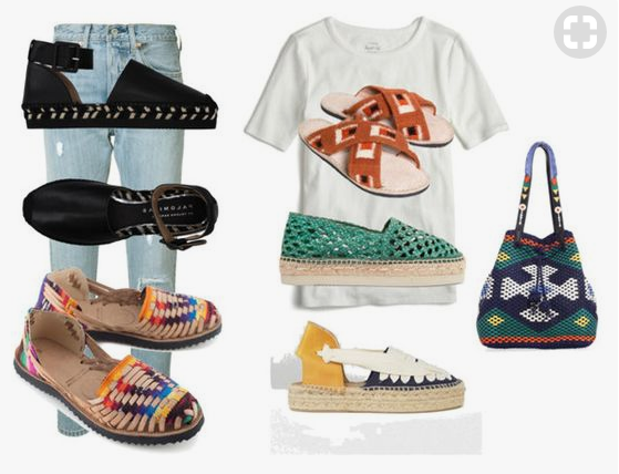 1. Black espadrilles   2. Rainbow Huaraches   3. Criss-cross slides  4. Green espadrilles 5.  Blue and yellow espadrilles  6.  $$$ most beautiful ba g