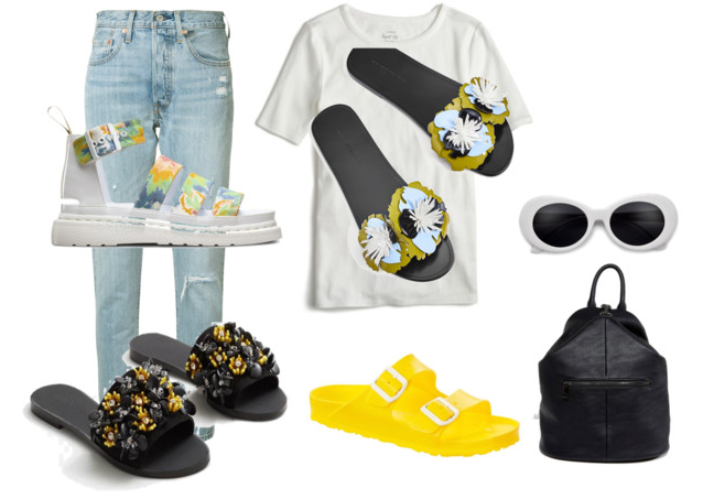 1. Tye-die flatforms    2.Beaded floral    3.  Green and Blue Floral    4.  Yellow Birks   5. Sunglasses  6.  Backpack