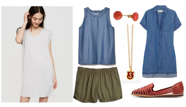 1.  Dress   2. Tulip top (the back is breezy!)   3. Shorts   4. Coral studs   5. Initial necklace   6. Similar Denim dress  ( long-sleeved version ) 7.  Huaraches , or  these huaraches