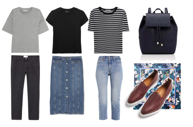 I own items like these but here are the links for items similar to the ones pictured:   Gray tee ,  Black ribbed tee ,  Striped tee ,  Black jeans ,  Denim skirt ,  Wedgie Jeans (my favorite!),  Backpack ,  Street shoe ,  scarf