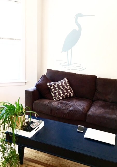 Couch ,  Tray ,  Pillow ,  Planter , hand-stenciled heron, Table from Craigslist Free Stuff