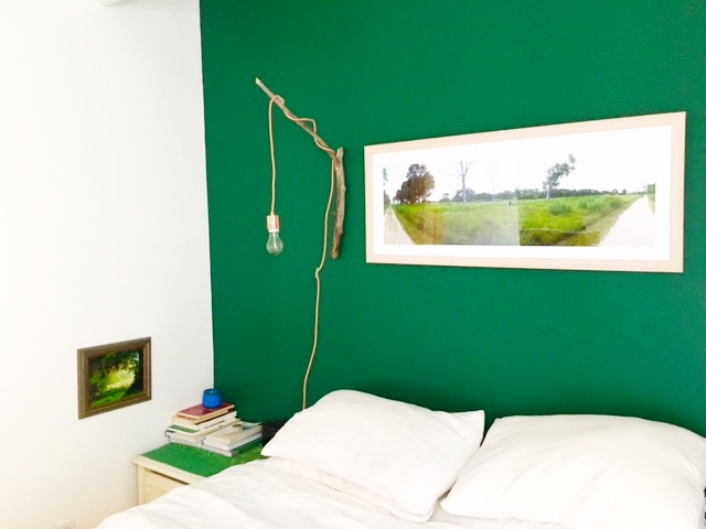 I see you green side table, and lil green painting hanging there at the perfect height!   Bedding