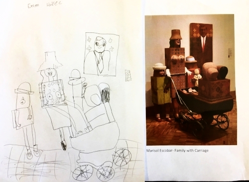 Student sketch of  Family With Carriage , by Marisol.
