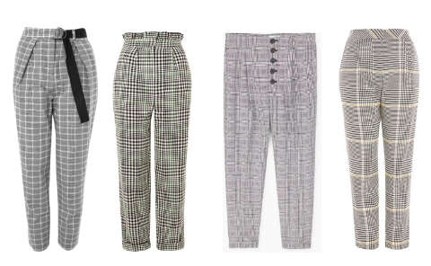Topshop checked belted ,  Topshop Heritage Mensy ,   Mango Prince of Wales ,  Topshop bright checked peg
