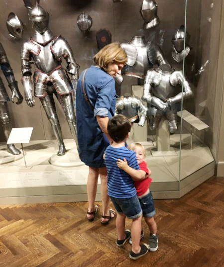 "Teddy, James, and ""Gram"", Art Institute (new Arms and Armor is a quick win).  Looks like love, but I spy the start of a high-pitched screech!  Quick!  Flee to the children's area!"