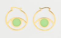 Mint Glass Third Eye Hoops Marta Pia for Of A Kind