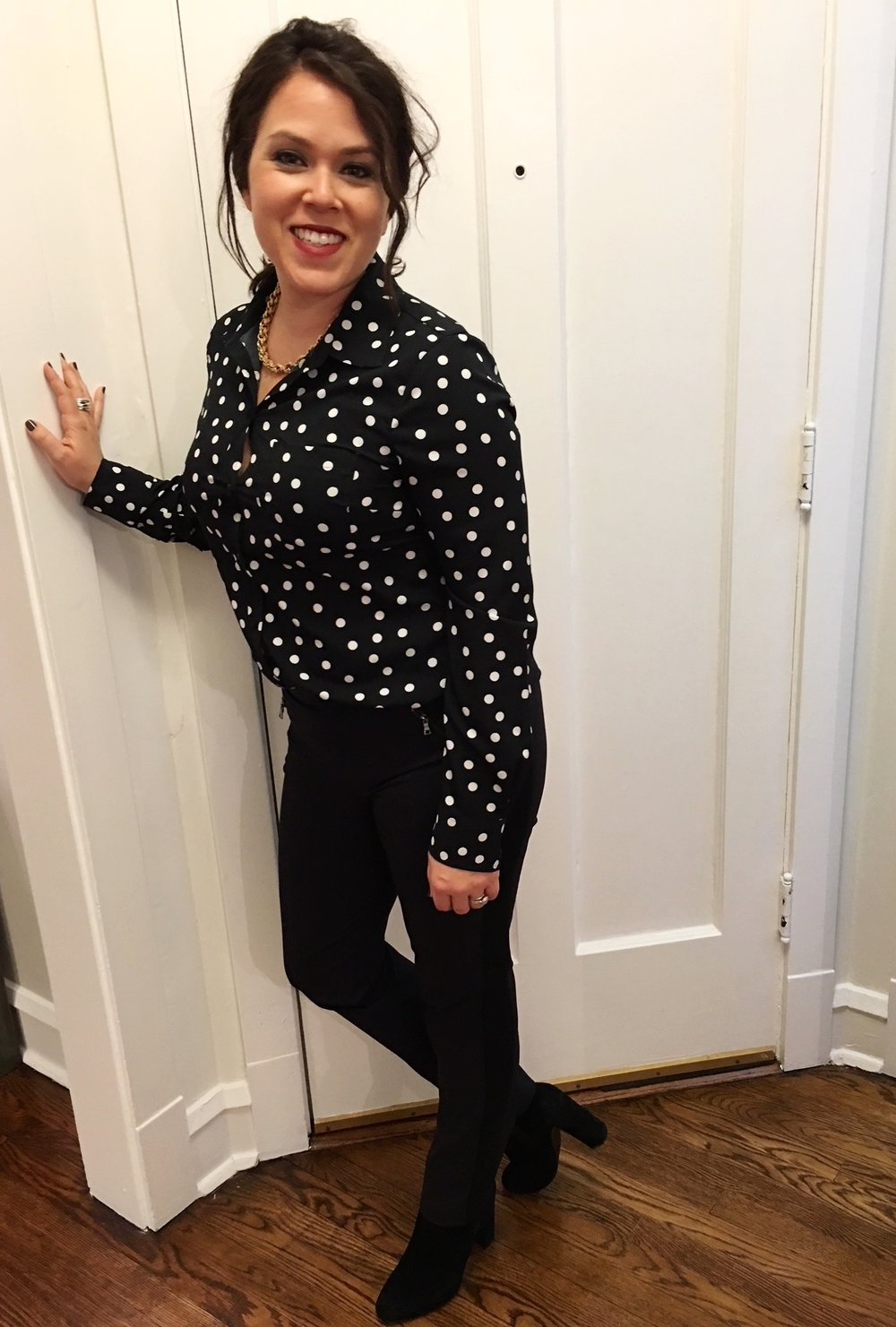 similar polka dot blouse , similar  Rebecca Taylor trousers ,  Steve Madden Boots