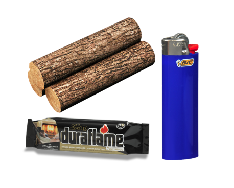 Wood, Lighter, Duraflame fire starter (Mariano's, CVS)
