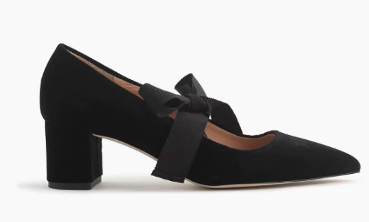 As seen in the video...  J. Crew Avery Velvet Pumps with Bow