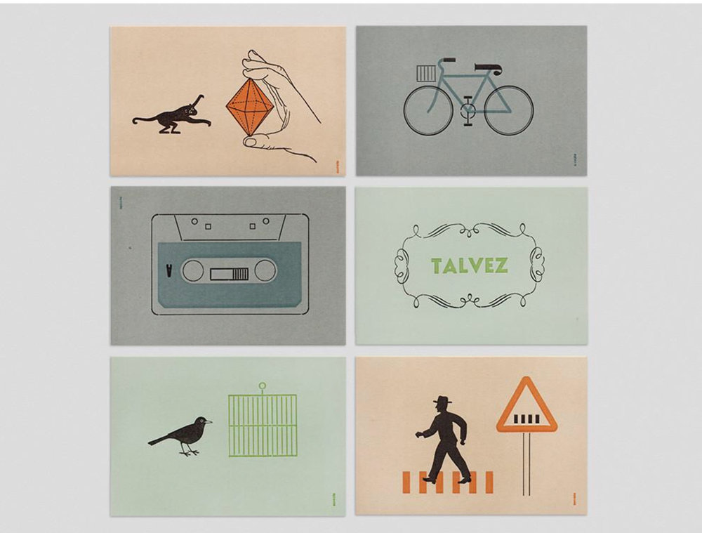 Simple graphics with a vintage vibe-  12 Letterpress Postcards/ Present & Correct