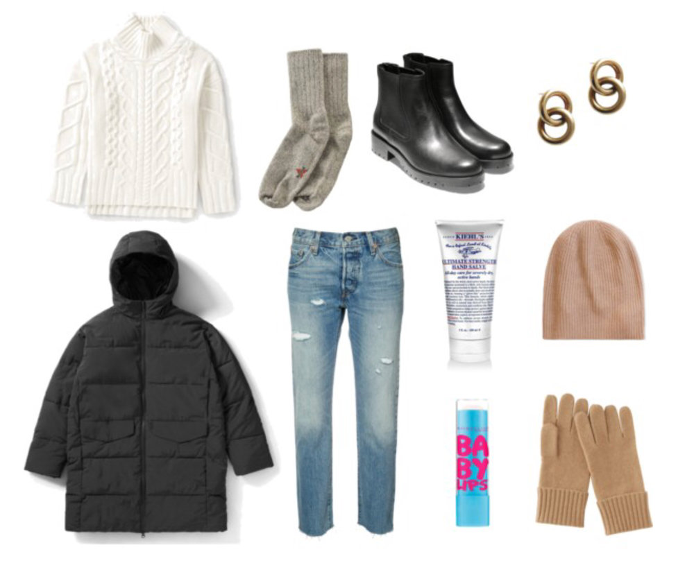 "1.   Oversized turtleneck sweater  2.  Warm socks  3.  Black Chelsea boots  4.  Hoop earrings  5.   Puffer  6.  Mom jeans  7.   ""Ultimate strength"" hand lotion  8.  Lip balm  9.  Hat  and  gloves"