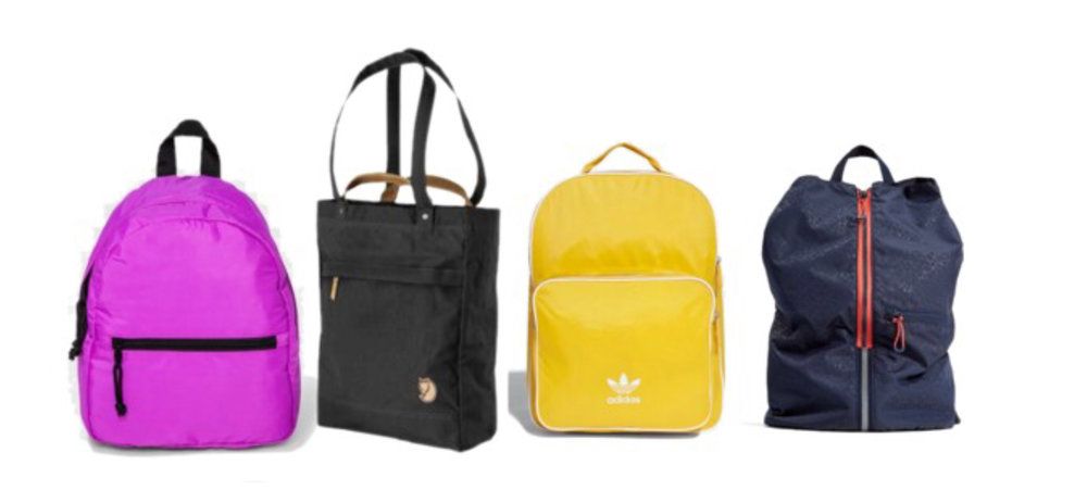 Target Nylon ,  Fjallraven Totepack No. 1  (reader Alexis swears by this two-fer tote/backpack)  Adidas Yellow ,  Zara Sporty