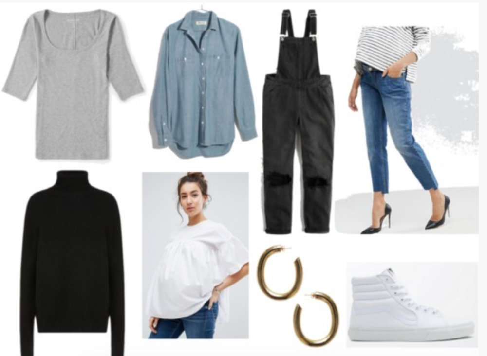 1.   Gray ribbed sweater  2.  Chambray shirt  3.  Black turtleneck  4.  Smock top  5.  Washed black overalls  6.   Boyfriend maternity jeans  7.  Hoops . 8.  White Vans