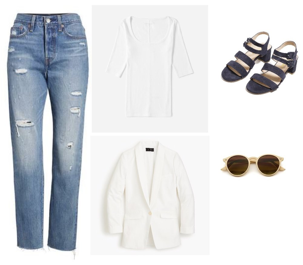"My fave  Levi's Wedgie ($68)  or  Everlane* Cheeky Straight Jean ($68)  ,  Everlane* Micro Rib tee (avail in various colors) ($28) ,  J. Crew blazer ($148) ,  Marais* Jardin sandals ($310) , "" Vintage"" sunglasses ($12)"