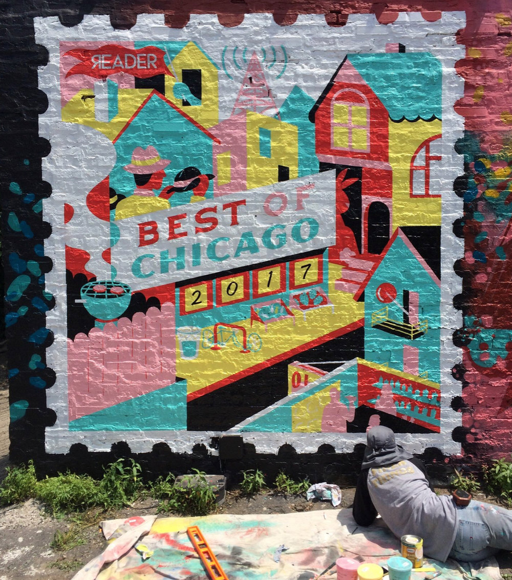 Mural for the Chicago Reader's Best of 2017 edition (Finer Signs)