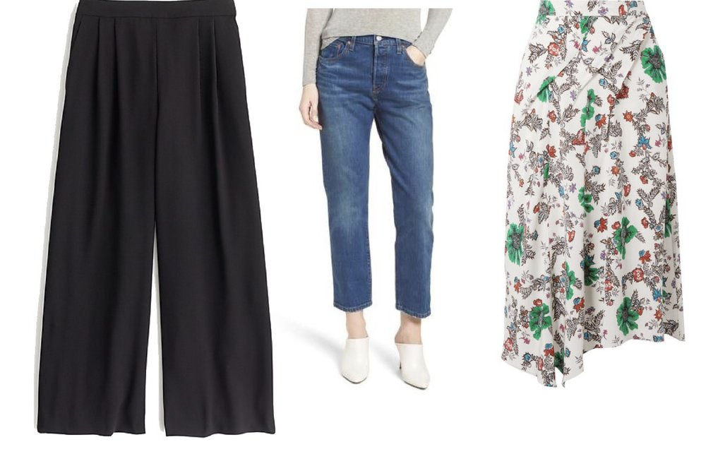 J. Crew Wide Leg Crop Pant ,  Levi's 501s ,  Isabel Marant/Liberty London skirt