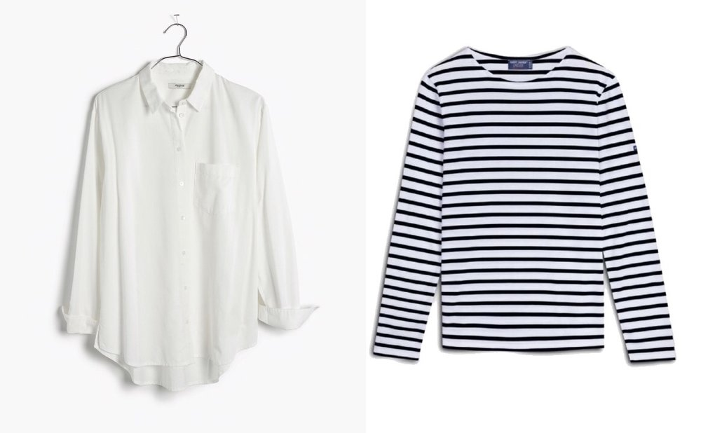 Madewell white shirt ,  Saint James Striped tee