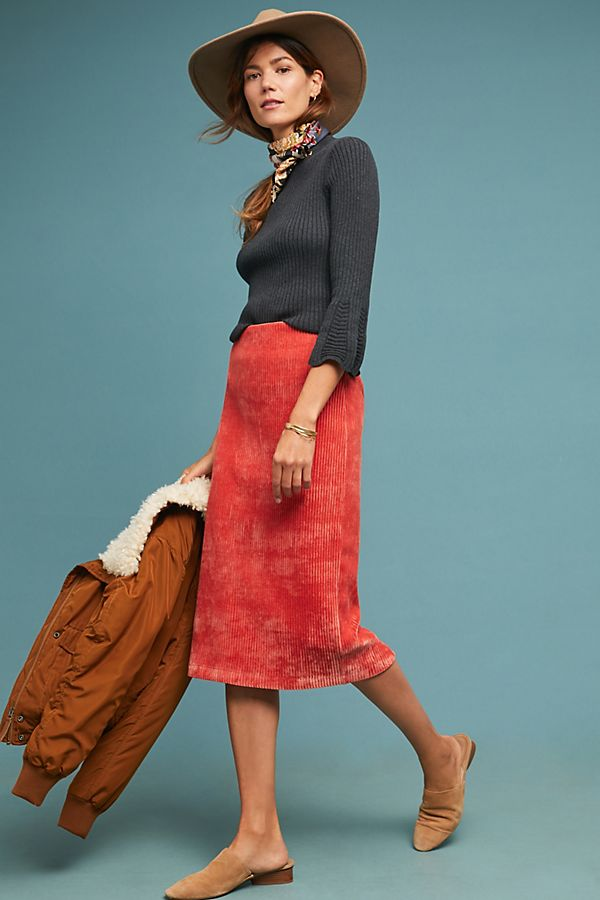 Anthropologie Corduroy Pencil Skirt