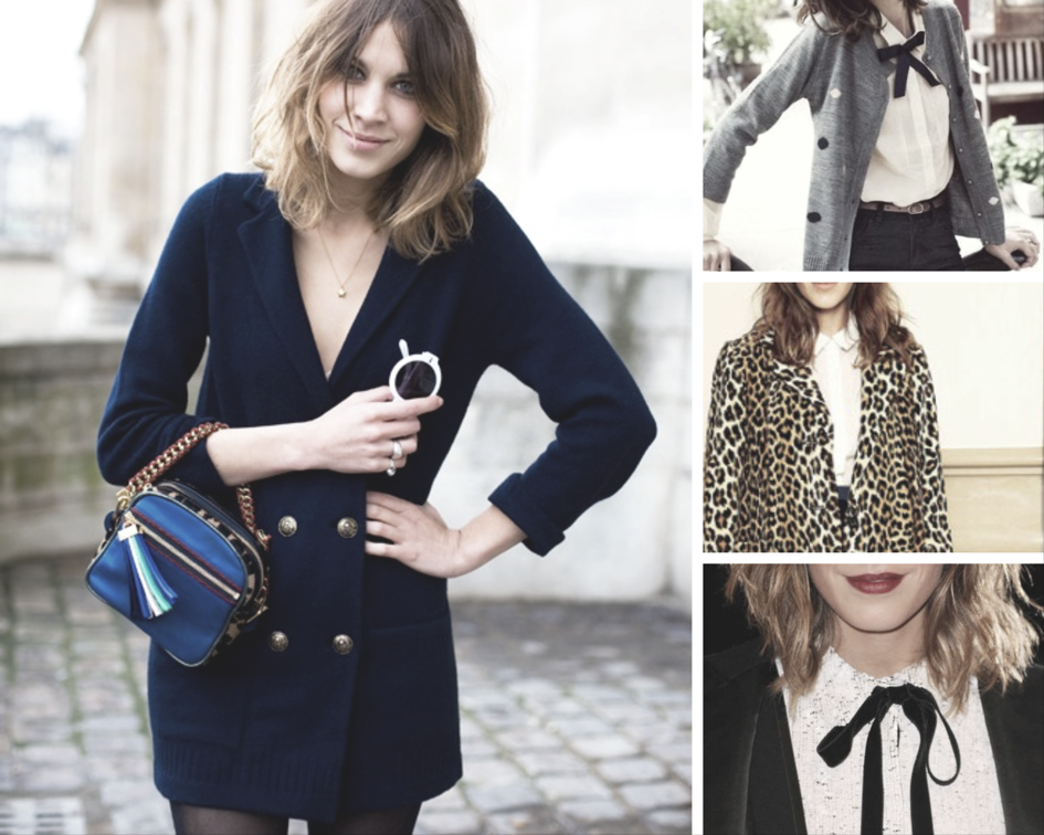 Double-breasted blazers, frilly button-ups, black bows, classic prints, and weird bags