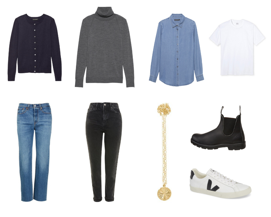 """Navy Cardigan *, Gray turtleneck (n/a but  similar here *),  My favorite denim shirt ,  White tshirt ,  My favorite mom jeans ,  Black washed jeans , """" Gold"""" necklace ,  My (new) favorite Courtney-Barnett-inspired winter boots ,  Veja sneakers *"""