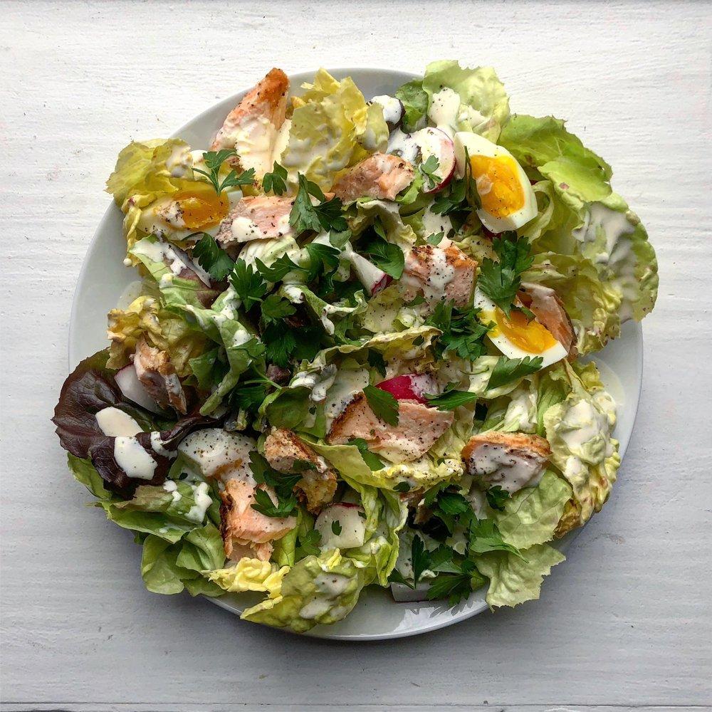 Salmon + Radish Salad with Lemon Aioli Dressing