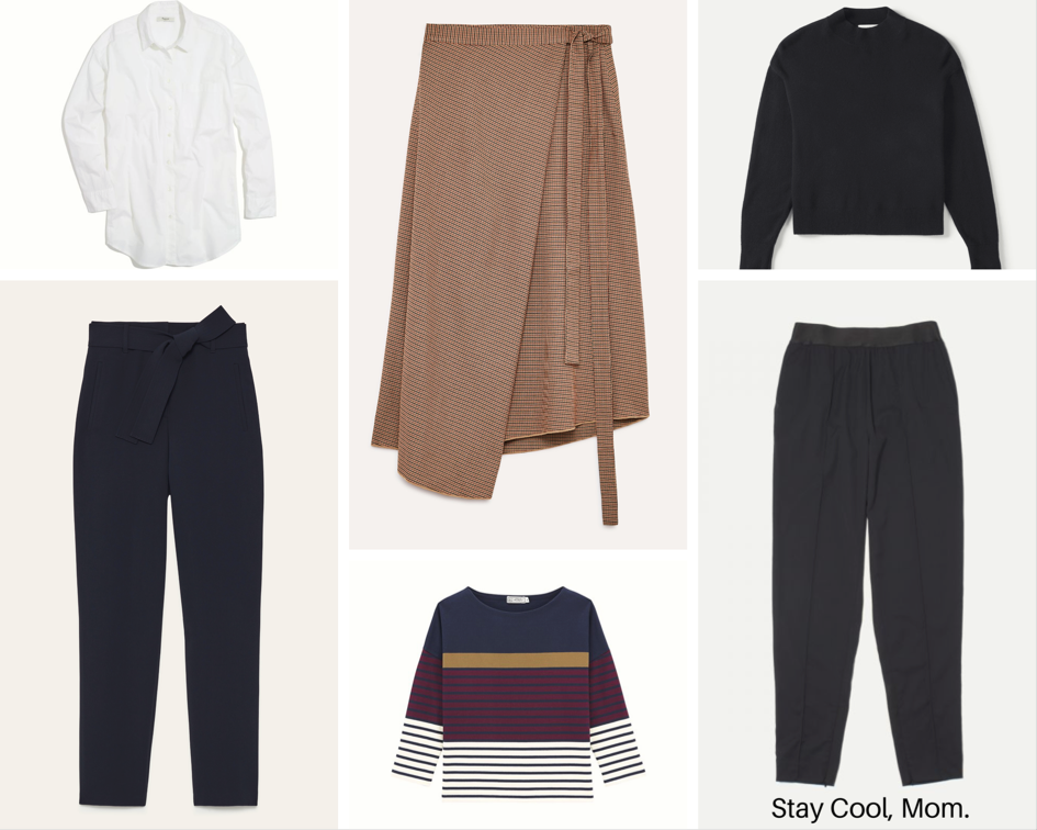 Madewell Oversized Button Down , Aritzia skirt-sold out ( interesting alternative ),  Everlane Black Sweater ,  Everlane Black trousers ,  Le Petit Bateau Striped tee ,  Aritzia tie-front trousers