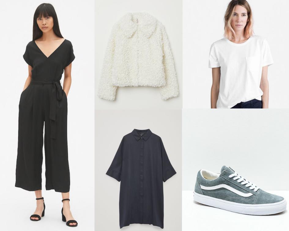 Gap Jumpsuit , similar  Madewell sherpa jacket , Everlane box tee ,  Vans sneakers ,  COS shirt dress