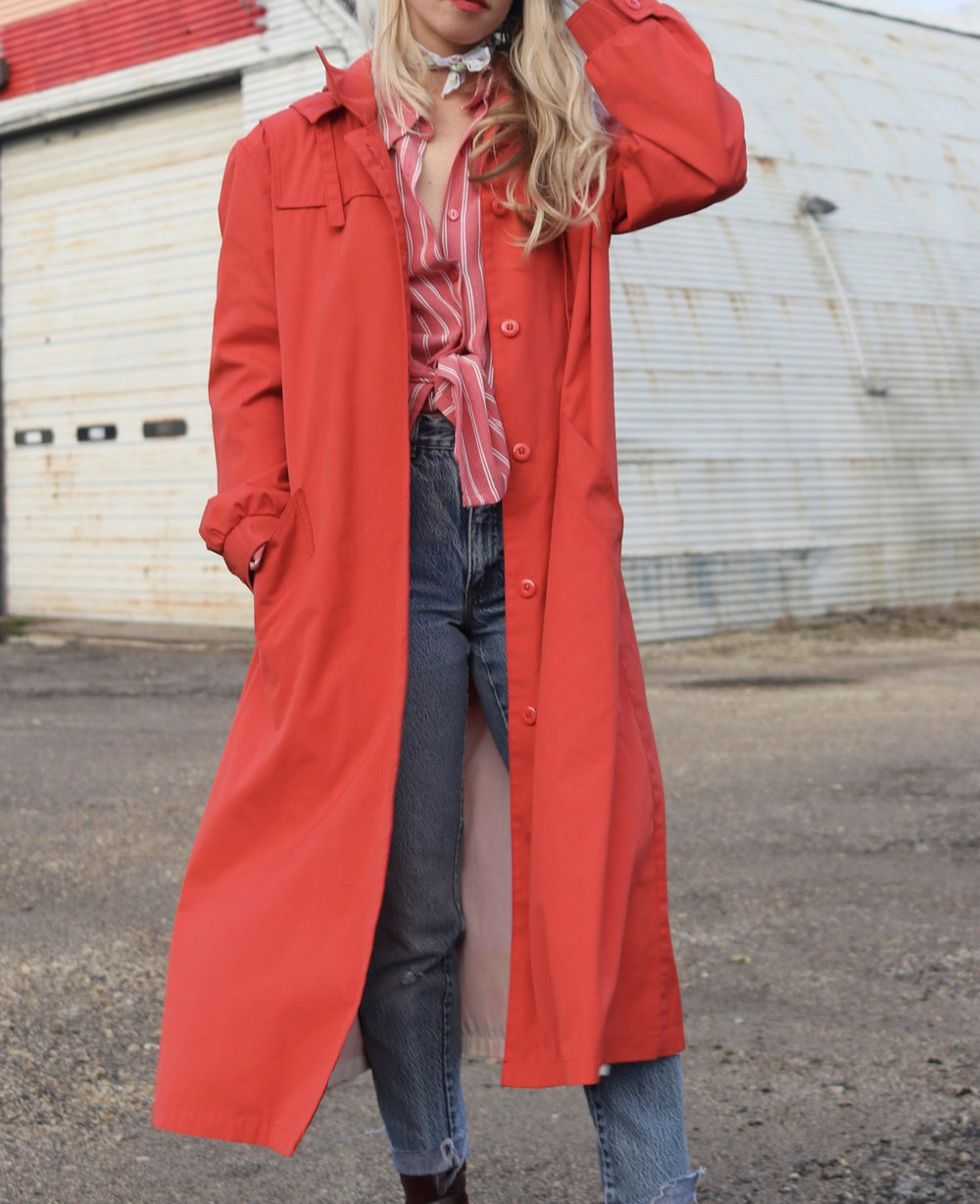 Red Trench Size Small ,