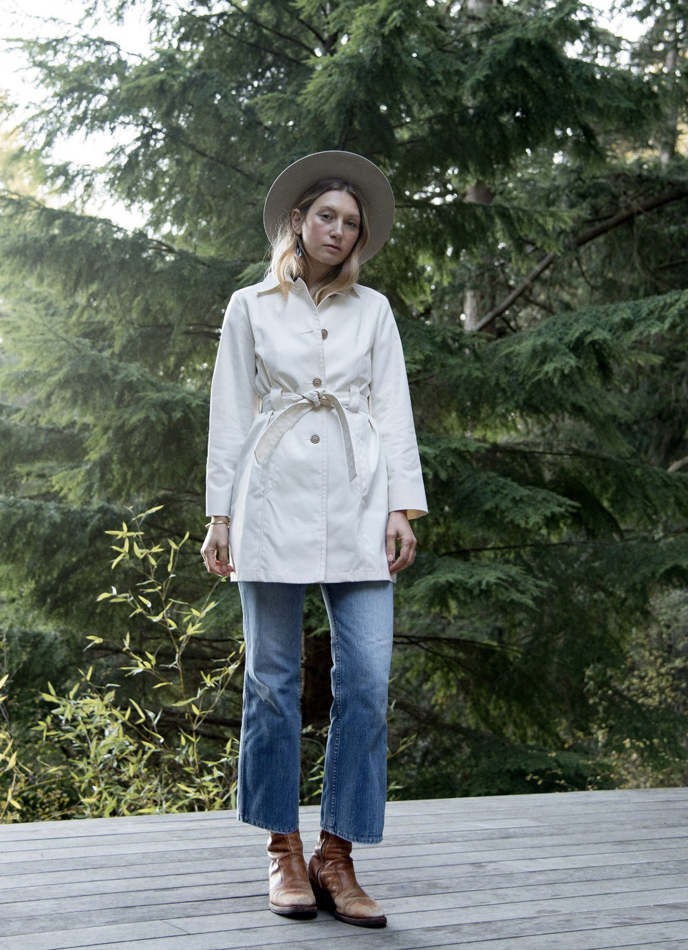 Classic Short White Trench, Size Small