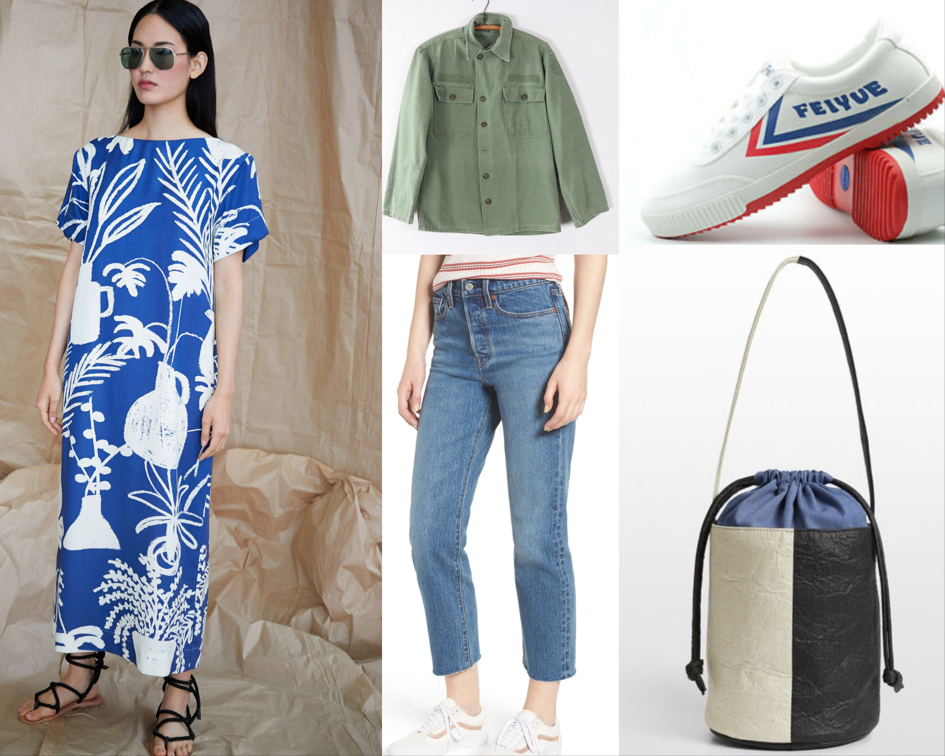 Whit dress ,  Utility shirt ,  Feiyue Kung Fu sneakers ,  Hozen collection bucket bag ,  Levi's Wedgie Fit