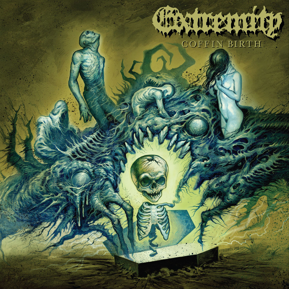 """Coffin Birth by Extremity - I love me some old school death metal. I love even more when a new band does old school death metal. I love even more than that when a new band comes out and does old school death metal right. This is what Extremity has done. Please forgive the robotic facts I spit out from my death metal machine, but this is true. Coffin Birth by Extremity so awesome old school death metal by a new band done right. From the album title, album art, and song titles alone; I knew I was in for a delicious death metal delight. """"Coffin Birth""""? Awesome. A dead baby skeleton emerging from a coffin surrounded by abstract abyss dwelling undead creatures and/or anamorphic body parts and such? Double awesome. Insightful titles to their pieces such as """"A Million Witches"""" and """"For The Want of a Nail""""? Sign me right up. Upon further inspection, they are a southern Californian death metal sort of underground supergroup with a female bassist? Say absolutely no more. But, wait, there is more! This debut full length is brought to us by one of absolute favorite, and unashamedly proud Pittsburgh based, record label - 20 Buck Spin. AND ON TOP OF THAT, upon further inspection, this is a concept record. A death metal. Concept. Record. How many things that I love can be packed into this undead motherfucker of a coffin fetus? Just the fact that this record is supposed to sound like it takes place in a coffin (it does) and its a story about an alien father impregnating a dead woman and giving birth to said undead alien fetus inside said coffin, and this record is essentially the soundtrack to that. Spoiler alert: they nail it (no pun intended) .I loved this record before hearing a single lethal injecting millisecond of it. Now, to be realistic, I probably shouldn't get my hopes up this much in case the actual music itself is disappointing, right? To that I say, fair point. But, I have the mentality of a six year old and will damn well get over excited at a record called Coffin Bir"""