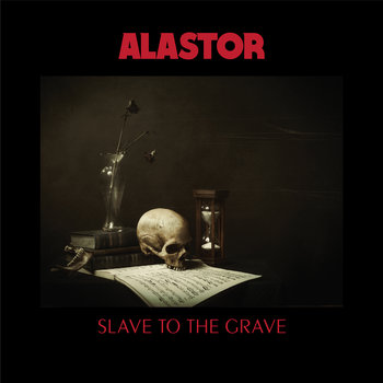 """Slave To The Grave by Alastor - Death. The enigma that has been haunting our being since the dawn of time. In attempts to console this ever lurking blackened cloud prepared to unleash the rain of eternity upon us at seemingly any second; countless religions, works of art, literature, and records have been spawned. Either make one comfortable with the concept of death or using it as the ever -fascinating and timeless subject that it is and always will be, the best art art is often forged out of death. Wether that's fear of death, welcoming of death, celebrations of death, accountings of death, or whichever angle an artist wants to tackle death from; it never goes out of style. Death sells just as sex sells; and we'll never have the answer to the age old dilemma of how it happens, where we go, and what it's like. The only ones that know are ash and rotting bones in caskets beneath us. But, with records like Slave To The Grave by Swedish doom metal maestros Alastor, with respects to Mr. Crowley, we can get a pretty good idea…. and I'll bet those buried dead, forgotten skeletons, and wandering spirits alike are hiding in the darkness headbanging to the riffs of Alastor.""""In Death we are all equal"""" being what the eerily possessing introductory track translates to, with the rumblings of thunder, and the reciting of what I'm only assuming is more hymns of doom in their native language; it is apparent that the blood of death is running throughly through the veins of this record. After an igniting strike of a distant church bell, Slave to the Grave awakens with the casket-rocking riff of """"Your Lives Are Worthless."""" And when this song kicks in with the chilling lyrics """"I came to walk the Earth two-thousand years ago…"""" or there following """"If God could cry we all would drown.."""" sung like a satanic seer within the Scandinavian forests; it's guaranteed to awaken some worthless lives. The song plays like a ancient fable of doom, delivering prolific lyrics, hauntingly groovy and int"""