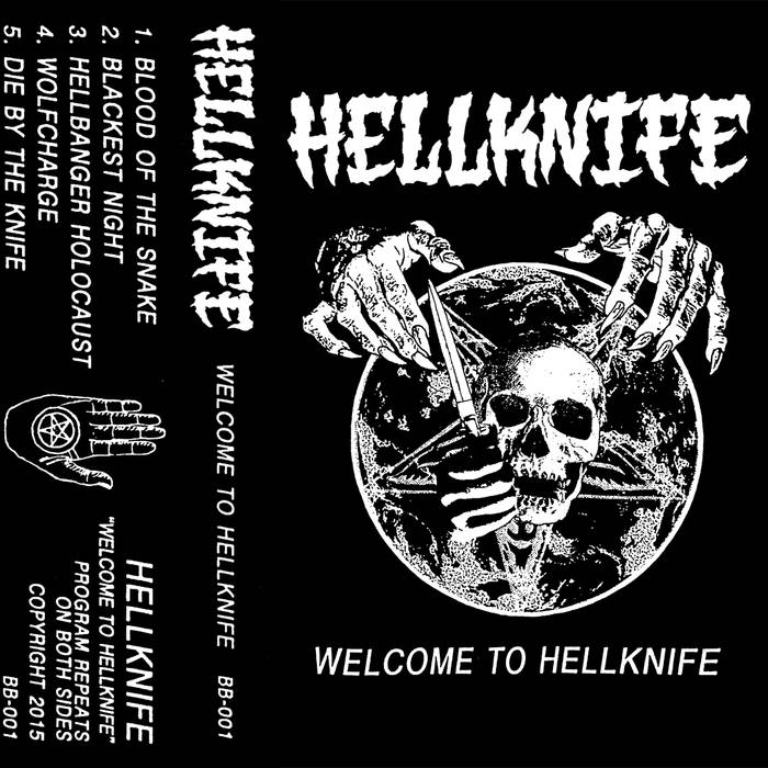 Welcome To Hellknife by HELLKNIFE - Galloping riffs of terror!! Spiteful vocals constructed of anger & razor blades!! Volcanic eruption of drums exploding at the mercy of no man dead or alive!! All at a speed unknown to even the demon souls soaring amongst the vomitious infernos of the underword.. alas, THRASH IS BACK!! And this time… it has a knife. A HELLKNIFE! Here to resurrect good 'ol fashioned, fast & pissed, unforgiving & blasphemous, drunk & rowdy, American Thrash Metal is HELLKNIFE. With their debut EP Welcome to Hellknife, graciously descended upon the human race pulls no punches and certainly spare no lives. So, my dead friends, lace up the boots, spill the blood, grab your barbells, and prepare for 5 songs and 15 minutes of unrelenting high energy via the knives of hell. And as fate and history would have it, and as they so those who do not learn from history are doomed to repeat it, HELLKNIFE is no longer. Say, WHAT!? You're reviewing and praising a band that does not exist any longer? Yes, yes I am. BECAUSE, for one, I love the dead. And second, like a good history lesson, this deserves recognition. Unearthed from the bones and dust of time and given its first proper release in the glorious lo-fi cassette form (!!) Via the cool humans over a Reaper Metal Productions, you would be gravely mistaken not to check this out.The classic bits of American thrash metal are very likely my first love for metal music, as I can bet most of you started there too. With the obvious likes of Metallica, Slayer, Anthrax, Exodus, Testament, Overkill, Morbid Saint, etc… is where I stared to earn my metal stripes back as a wee little pre-teen full of angst, hatred, and pizza dough.. and, uh, not much as changed. It may be a cliche, but I still remember the first time I listened to Reign In Blood, Kill 'Em All, Rust In Peace, you name it, they changed my life and the way I looked at not just metal music, but music in general. Those undeniable massively important records and b