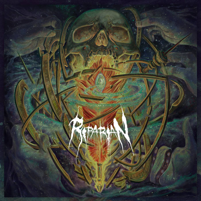 "Riparian (EP) by Riparian - PITTSBURGH DEATH METAL. Ah, it feels as refreshing as blissful bloodshower to write that. Allow me to let it sink in and get weird with you again, please. Pittsburgh. Death. Metal. Awesome, right? Now, why isn't there more of this? While Pittsburgh does certainly have a beyond alive & well metal underground and music scene in general (punk being particularly strong here, among others); death metal is sparingly scattered like remains and splattered like brains within it… and that's a shame. Riparian, however, are here to change that. Being no strangers to the local scene, Riparian have sharpened their teeth opening for acts such as Incantation, Dying Fetus and Exhumed, just to namedrop a few. Forming from the corpses of past projects, Riparian quickly made a name for themselves and continue to do so as they utterly dominate their own local gigs and continue to grow (and kill it) as a band. Now having scored the release of their debut EP through a prominent label, Riparian sound just like they aren't going anywhere anytime soon. Coming fresh off aforementioned eponymous EP, Riparian continue to loudly and proudly represent Pittsburgh death metal in the most brutal of ways possible, while hopefully paving the way for new death metal bands to come.Just to be clear, I definitely do not wish to discredit any other Pittsburgh death metal bands AT ALL as they are working hard as actual fuck at the moment; (shameless shout out to my friends in Enfidle, Ritual Mass, Greywalker, Post Mortal Possession, etc..) I just see Riparian getting the most attention. And, in my dead & humble opinion, rightfully so. These dudes work asses off, they are as professional as any death metal band has any right to be, their live shows are tighter than any deranged surgical procedure their music can conjure up, along with their gear and sound often impeccable in maybe less than ideal acoustic environments but most importantly; They. Fucking. Bring it. Riparians live performances have no shortage of high powered metal energy and their music forcefully invades your skull like a jackhammer. I guess that's all well and good, BUT, does their HIGH ENERGY, tighter than hell death metal chops, undying passion and desire to rock translate well into a mere 5-song EP? Read on to find out…YES. Yes it does. Hell if I can keep a secret. Especially when it has to do with good death metal and ESPECIALLY when it's good death metal from my hometown, goddamnit! The EP's sound is nothing short of professional but don't-worry-still-quite-gut-wrenching, death metal. Riparian has been released on a killer underground metal label, Grimoire Records, whom are responsible for easily some of the best metal to be supplied to the black masses last year, and the result is… you guessed it: FUCKIN BRUTAL, MAAAAN. Seriously though. The sci-fi rooted bones of this psychotic death metal skeleton rattle in genre-bending glory, encrusted by tectonic plates of sonic riffs, bellowed by volcanic vocal chords, and dancing in the hell-spawning beats of the rhythm section lives Riparian on every decibel of this 25 minute record. With the technicality of alien metal sorcerers but the souls of the old school ghouls; Riparian display a very balanced, fresh as the newly slaughtered, eclectic variety of death-grind for the whole family. That was my futile attempt at figurative language to say that there is something to be desired on Riparian's debut by every death metal subgenre fanatic. That is, to my estimation, due to the contribution of each member of the bands' previous experience and unique interests, combined with unnerving skill, and MAYBE some help from the devil; Riparian come together like a grimy and imposing death machine to mass produce their unique brew of extreme metal to the masses.The opening track and single (video available look that shit up) ""The Nuclear Unclear"", for instance, is oozing to the brim with grinding technicality with a menacingly fast tempo (and don't think I didn't notice that nasty little bass solo in the introduction.. I did, I see you, and I love you.) that will just leave your brain drawn and quartered. While other tracks such as ""Cosmic Undulations"" and ""Consumed by What Is Unknown"" are built upon burial grounds of the classic variety of death metal whilst exhuming that doom-rich atmosphere with only some spicy technical guitar workings showing up to haunt the listener when invoked. The remaining tracks ""Event Horizon of Artificial Existence"" and ""Metrics Distortion"" are not only quite the dope song titles but exist solely to shred the matter from your face. Riparian more than prove their grindcore and slam-worthy chops on these unrelenting tracks of sickening speed and technicality. Guitar virtuoso Lou Snyder & fellow sorcerer of the six strings Dan Martin form (not to be cliche but the term couldn't be more appropriate) dynamic (as hell) duo that pushes Riparian's sound to the proverbial next level. Having dual guitarists in the death metal band is never a bad move, but works especially well as their riff chemistry is undeniable. They are absolute riff machines and one can spit out a venomous lick while the other locks down that chunky and painful rhythm. Of course, death metal would be nothing without the signature blast beats of the drums, and Nick Tupi more than has that shit on lock while Brooks on the bass thickening & richening the sound with the bellows of bass (and you can actually clearly hear it in the mix which immediately scores points with me). Of course, the vocal style of Rob Grisly are, well, quite grisly. The vocal range shifts from guttural to higher pitched growls, further adding interesting variety to their sound. While all the tracks employ different extreme metal techniques and call upon unique subgenres for inspiration, they feel very organic and very unique to Riparian, which has to be the most appealing aspect of the band. From things as simple and arguably meaningless as their artwork and logo, but more importantly the vibes of their songs, it becomes quite the daunting task to place Riparian in box or label them as a specific subgenre. Not that they are ones to stay in their boxes or coffins anyway, so I'll just coin their genre ""fucking awesome death metal."" And Pittsburgh needs a whole lot more of that. Cheers, boys. Keep 'em coming.Rating: 4.5/5Gym Rating: 5/5Check out their music, gig dates, and more at the links below.. dig it!!!https://riparianpgh.bandcamp.com/releaseshttps://www.facebook.com/RiparianPgh/"