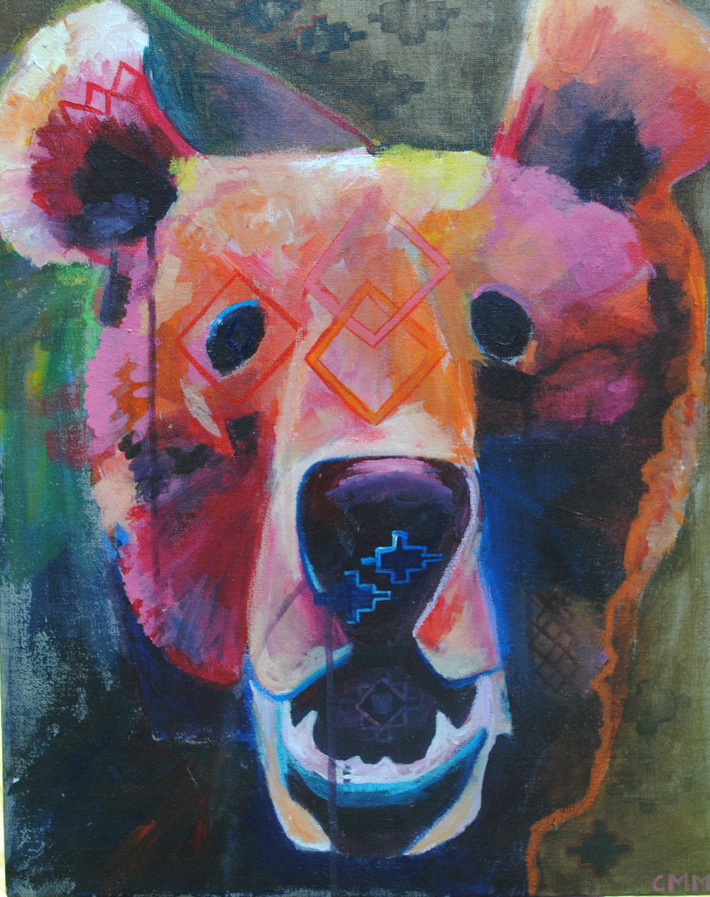 "Bear.  18""x24"". acrylic on linen."
