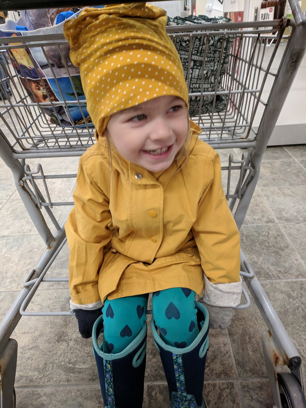 Note: In addition to coffee, scones, and YouTube, there is one additional treatment for The Late Winter Blues. It is a preschooler sitting in a shopping cart wearing sunshine yellow for days and floral boots. You're welcome.