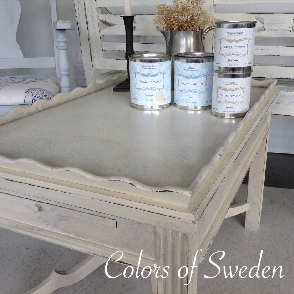 Candlelight painted table with Lime Wash & Sheer Smoke Glaze, Topcoat all from Colors of Sweden
